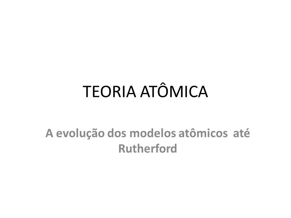 A evolução dos modelos atômicos até Rutherford