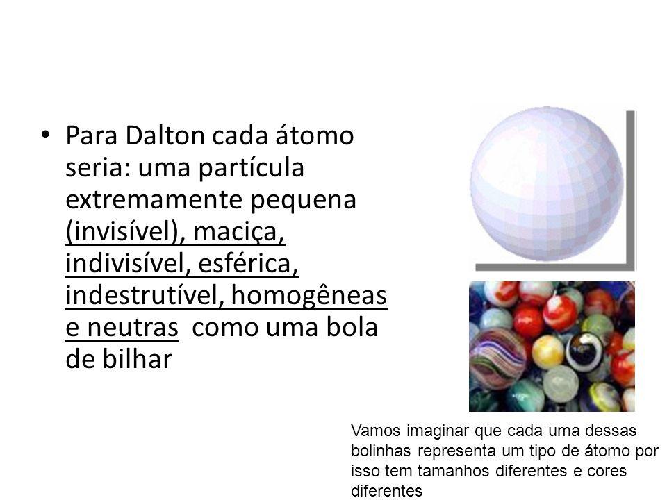 Para Dalton cada átomo seria: uma partícula extremamente pequena (invisível), maciça, indivisível, esférica, indestrutível, homogêneas e neutras como uma bola de bilhar