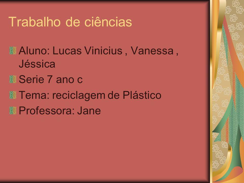 Trabalho de ciências Aluno: Lucas Vinicius , Vanessa , Jéssica