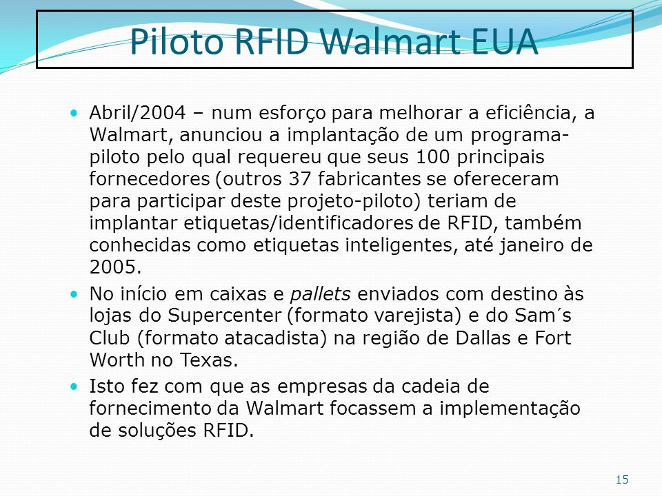 Piloto RFID Walmart EUA
