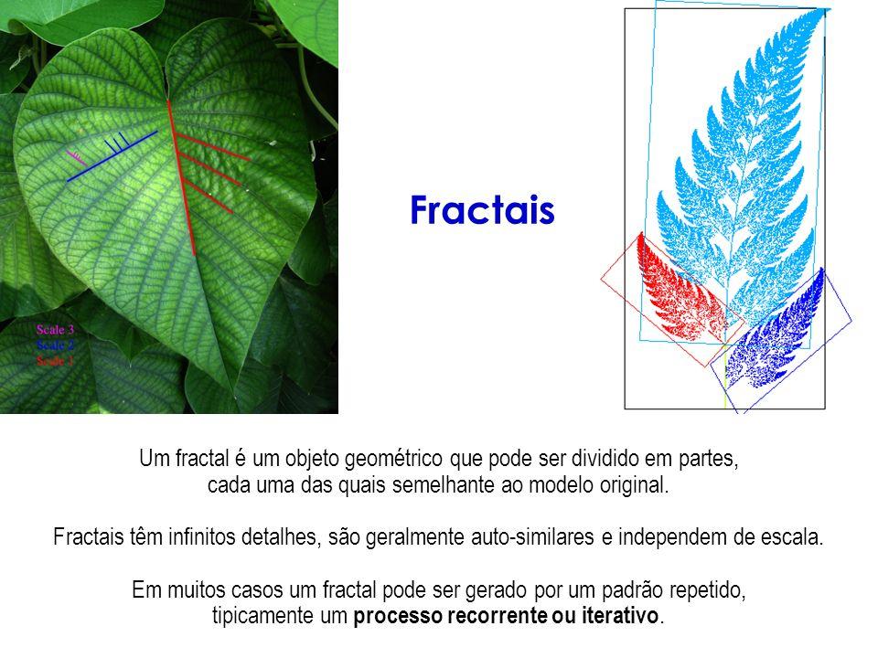 Fractais Um fractal é um objeto geométrico que pode ser dividido em partes, cada uma das quais semelhante ao modelo original.