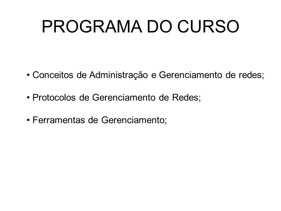 PROGRAMA DO CURSO Conceitos de Administração e Gerenciamento de redes;