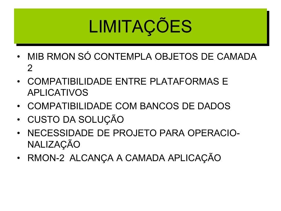 LIMITAÇÕES MIB RMON SÓ CONTEMPLA OBJETOS DE CAMADA 2
