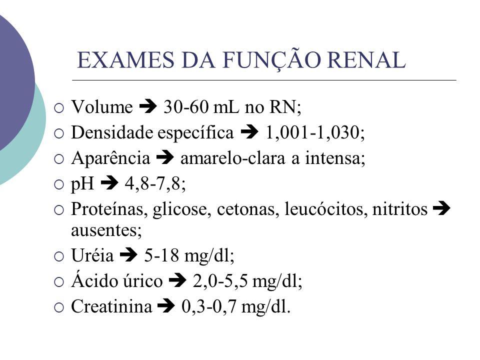 EXAMES DA FUNÇÃO RENAL Volume  30-60 mL no RN;