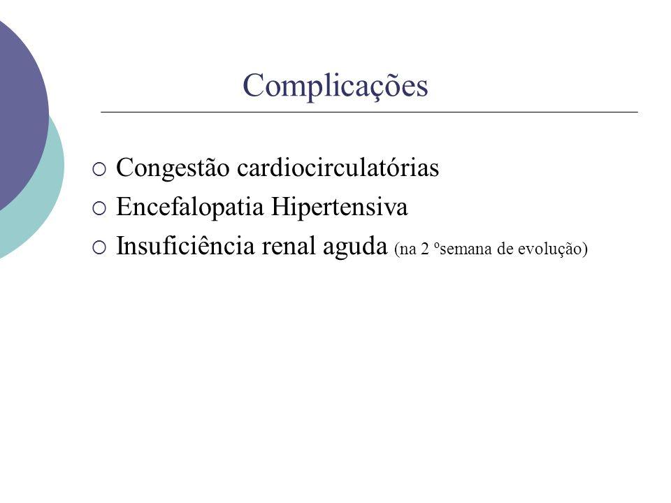 Complicações Congestão cardiocirculatórias Encefalopatia Hipertensiva
