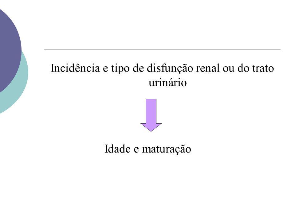 Incidência e tipo de disfunção renal ou do trato urinário