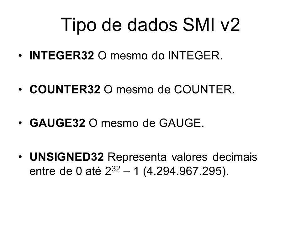 Tipo de dados SMI v2 INTEGER32 O mesmo do INTEGER.