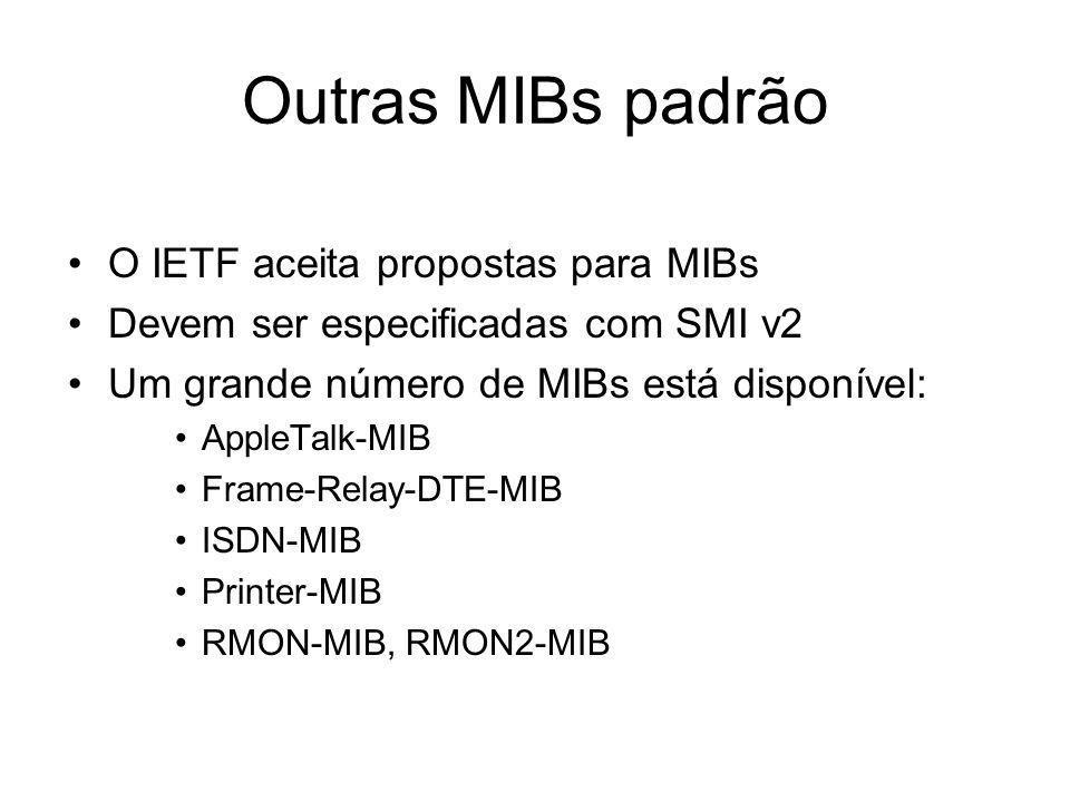 Outras MIBs padrão O IETF aceita propostas para MIBs