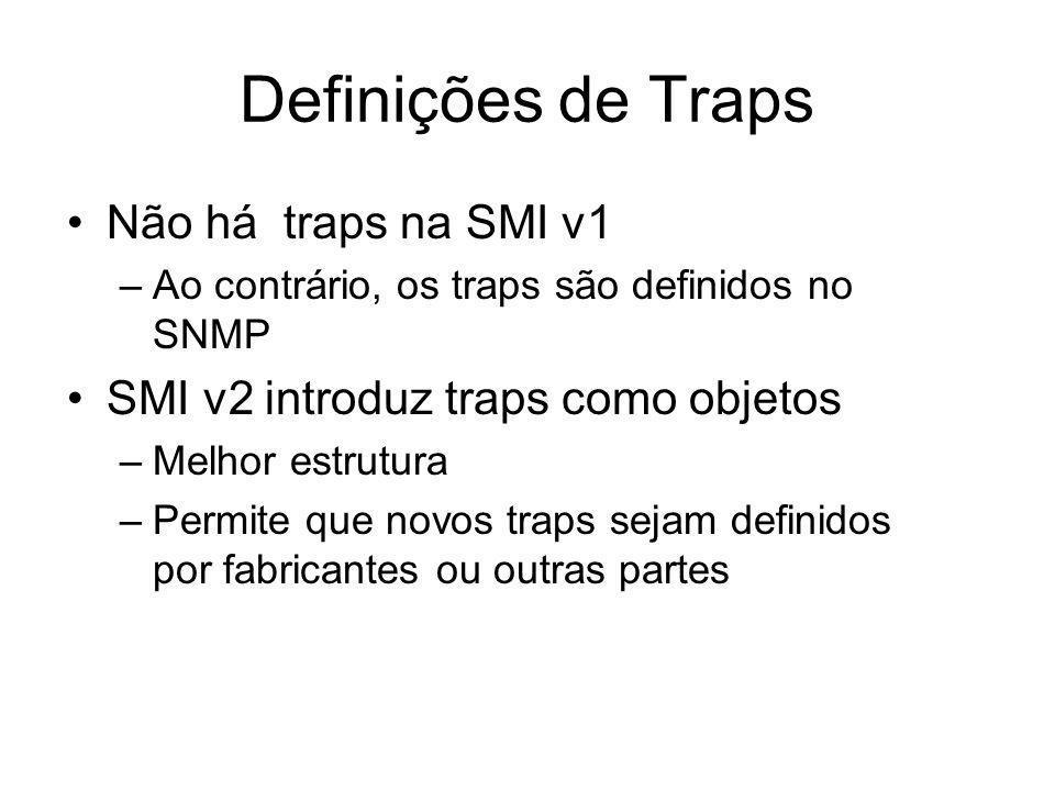 Definições de Traps Não há traps na SMI v1