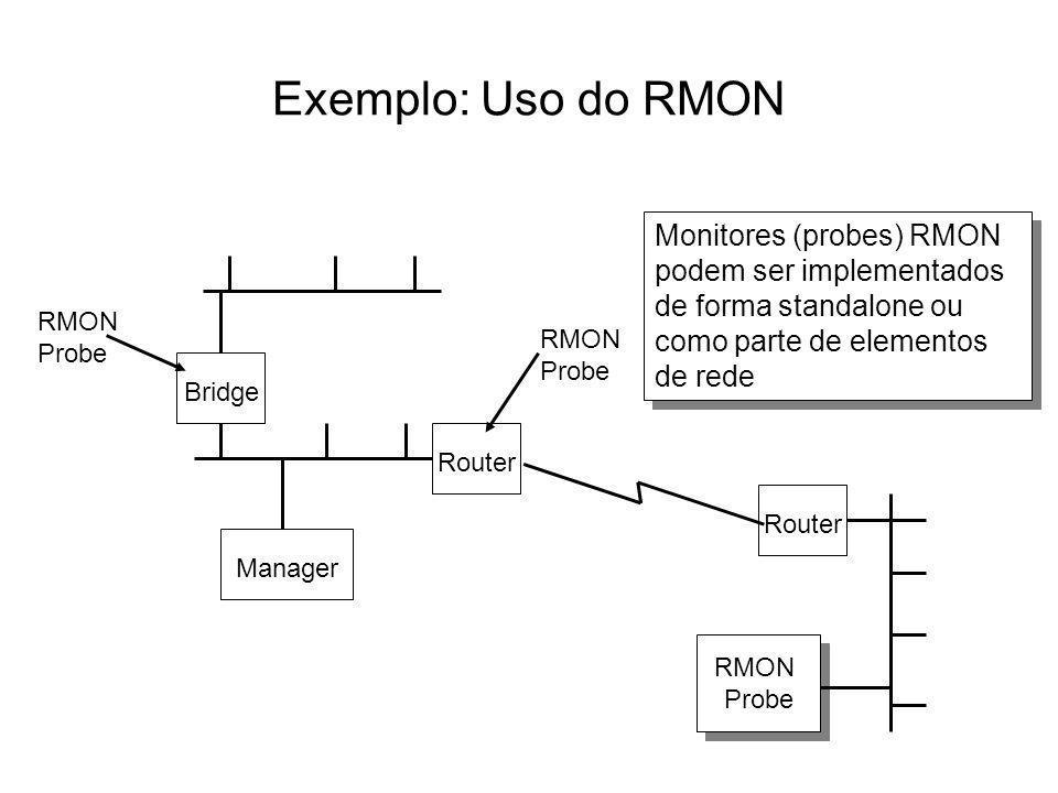 Exemplo: Uso do RMON Monitores (probes) RMON podem ser implementados de forma standalone ou como parte de elementos de rede.