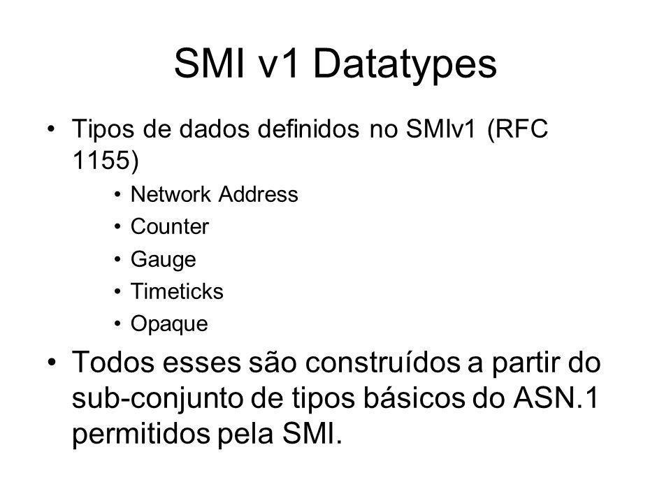 SMI v1 DatatypesTipos de dados definidos no SMIv1 (RFC 1155) Network Address. Counter. Gauge. Timeticks.