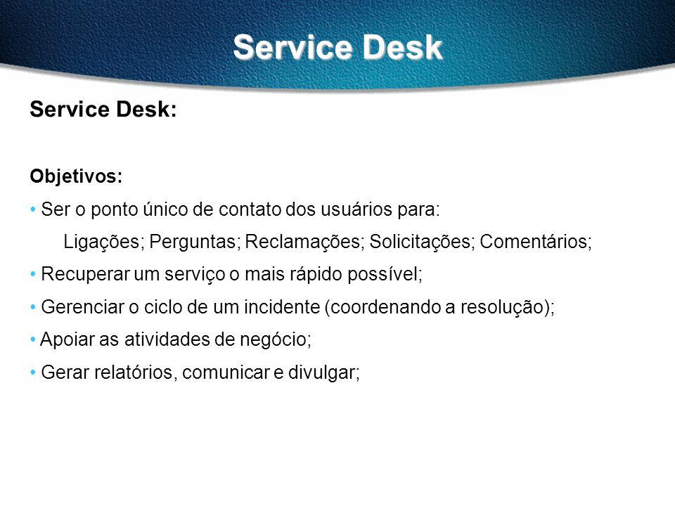 Service Desk Service Desk: Objetivos: