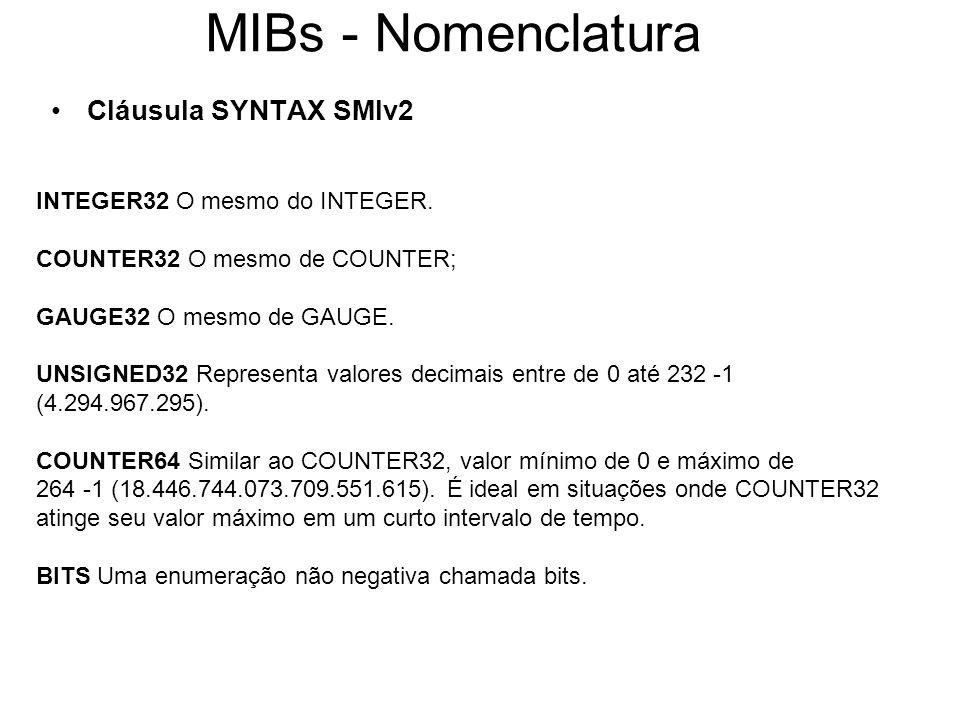 MIBs - Nomenclatura Cláusula SYNTAX SMIv2