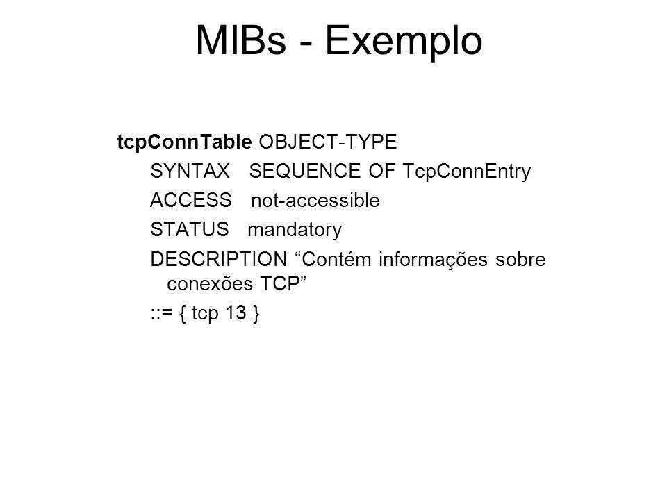 MIBs - Exemplo tcpConnTable OBJECT-TYPE