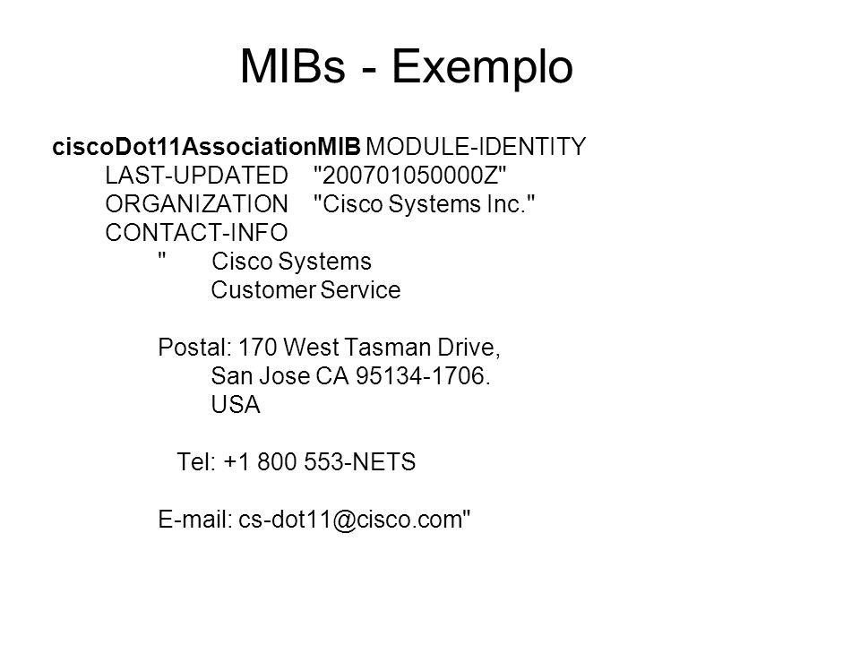 MIBs - Exemplo ciscoDot11AssociationMIB MODULE-IDENTITY