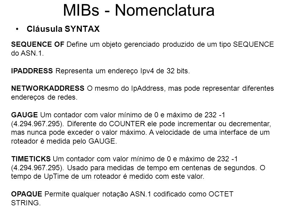 MIBs - Nomenclatura Cláusula SYNTAX