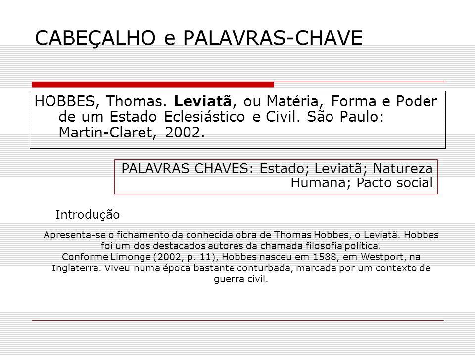 CABEÇALHO e PALAVRAS-CHAVE
