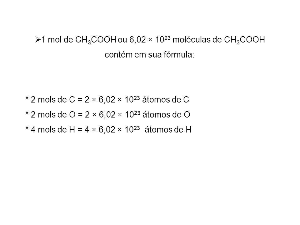1 mol de CH3COOH ou 6,02 × 1023 moléculas de CH3COOH