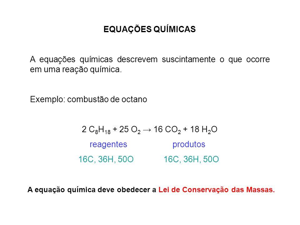 A equação química deve obedecer a Lei de Conservação das Massas.