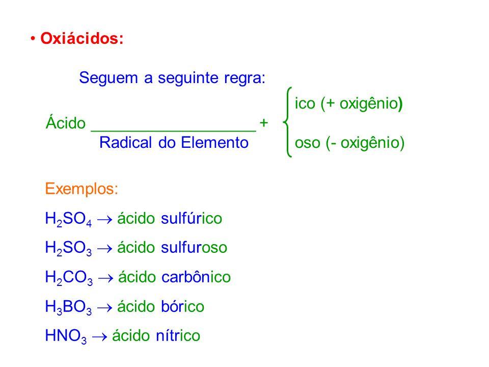 Oxiácidos: Seguem a seguinte regra: ico (+ oxigênio) Ácido __________________ + Radical do Elemento oso (- oxigênio)