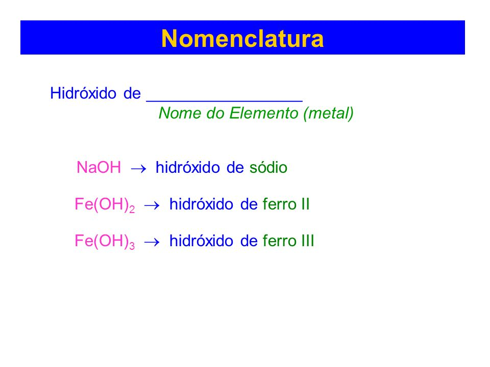Nomenclatura NaOH  hidróxido de sódio Hidróxido de _________________
