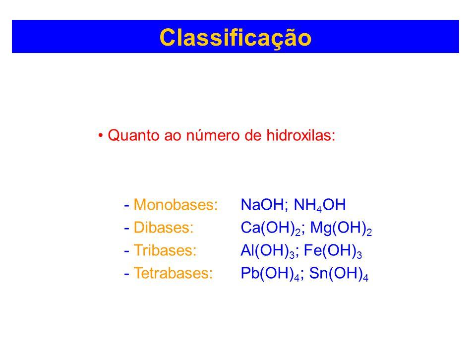 Classificação Quanto ao número de hidroxilas: - Monobases: NaOH; NH4OH
