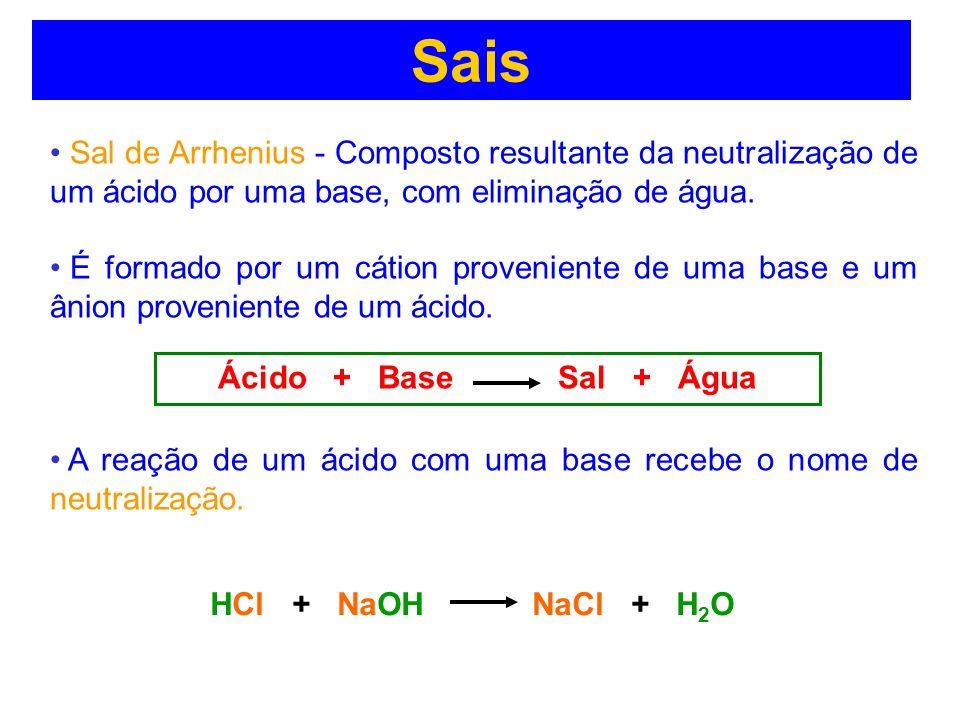 Sais Sal de Arrhenius - Composto resultante da neutralização de um ácido por uma base, com eliminação de água.
