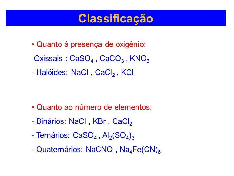 Classificação Quanto à presença de oxigênio: