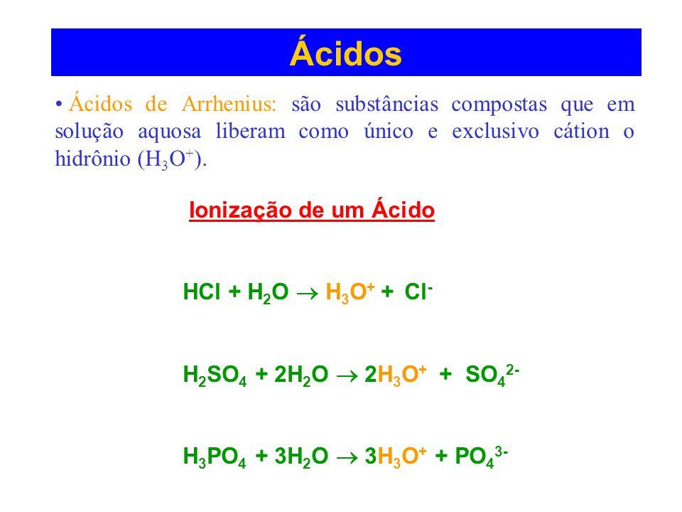 Ácidos Ácidos de Arrhenius: são substâncias compostas que em solução aquosa liberam como único e exclusivo cátion o hidrônio (H3O+).
