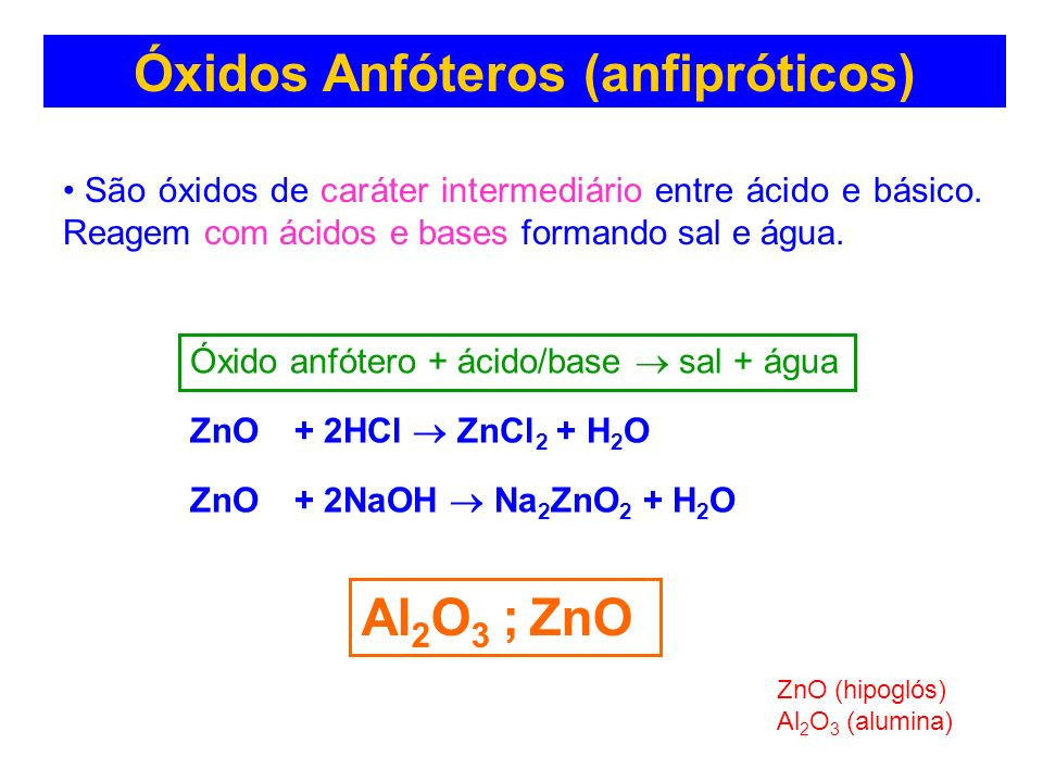 Óxidos Anfóteros (anfipróticos)