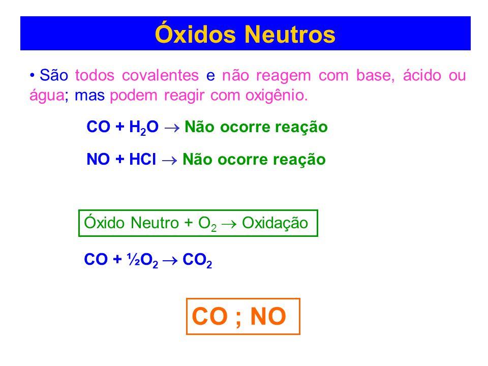 Óxidos Neutros (indiferentes)