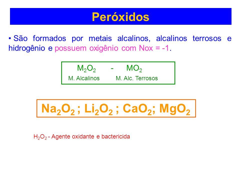 Peróxidos Peróxidos Na2O2 ; Li2O2 ; CaO2; MgO2