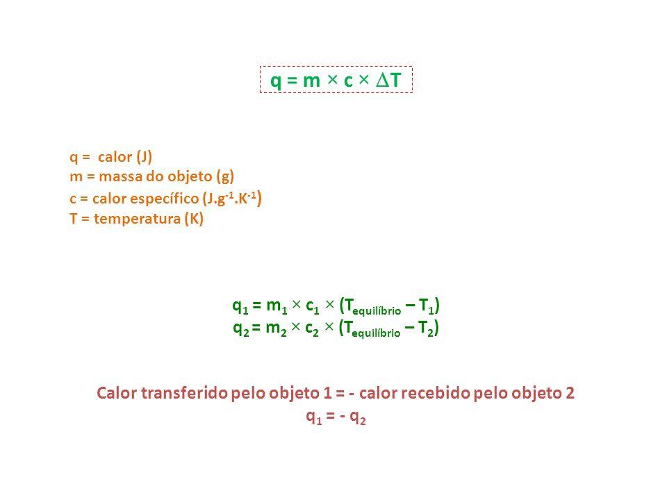 q = m × c × T q1 = m1 × c1 × (Tequilíbrio – T1)