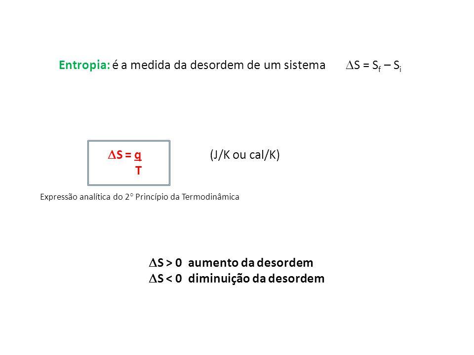Entropia: é a medida da desordem de um sistema S = Sf – Si