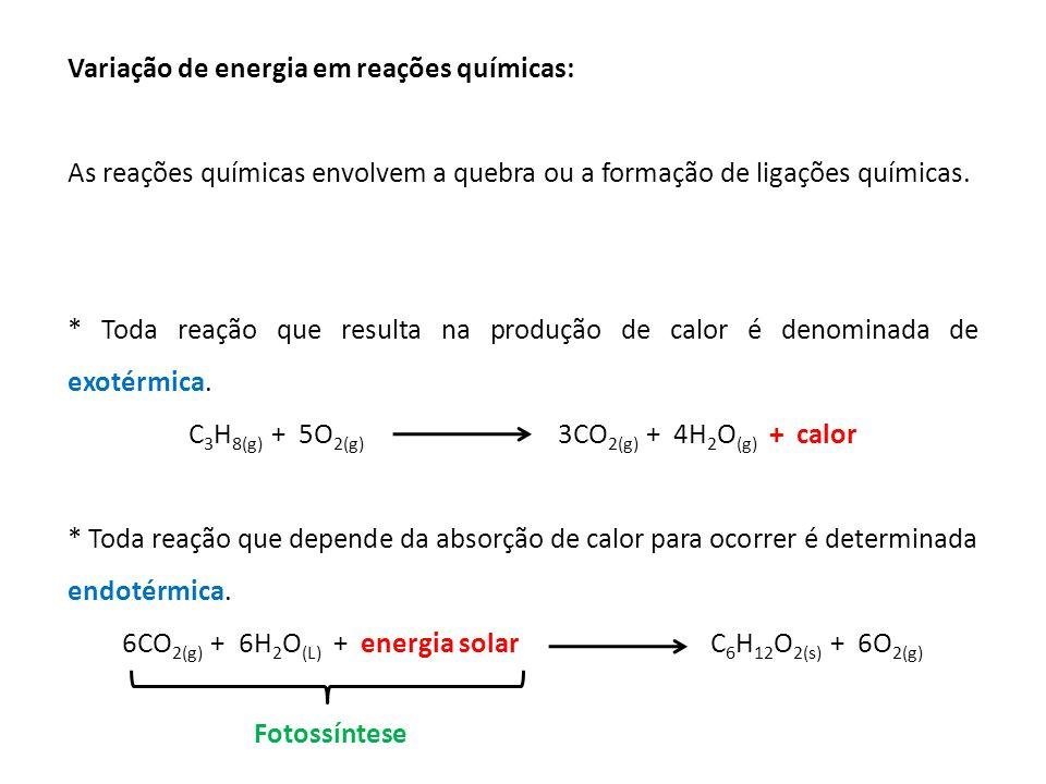 Variação de energia em reações químicas: