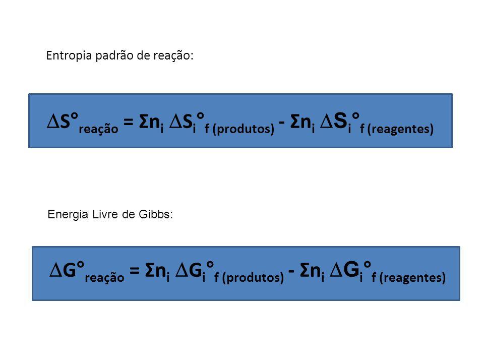 S°reação = Σni Si°f (produtos) - Σni Si°f (reagentes)