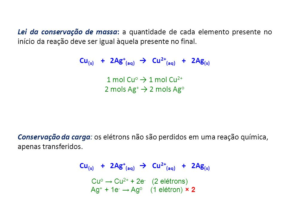 Cu(s) + 2Ag+(aq) → Cu2+(aq) + 2Ag(s)