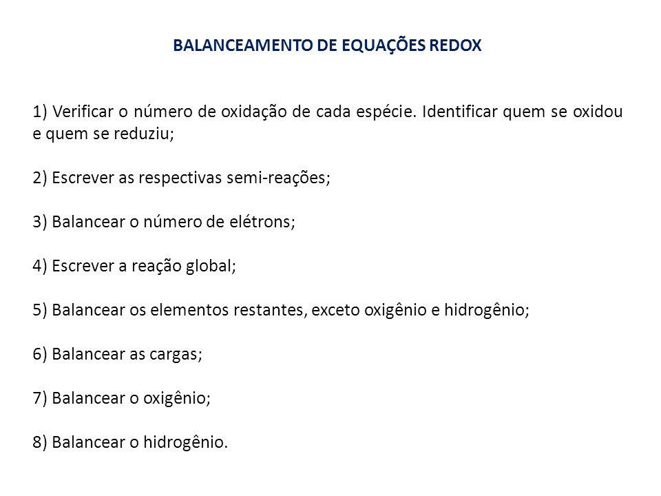 BALANCEAMENTO DE EQUAÇÕES REDOX