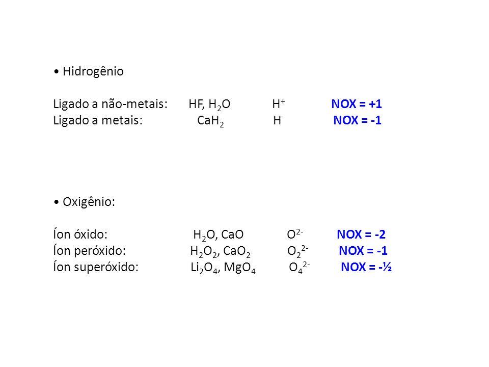 HidrogênioLigado a não-metais: HF, H2O H+ NOX = +1.