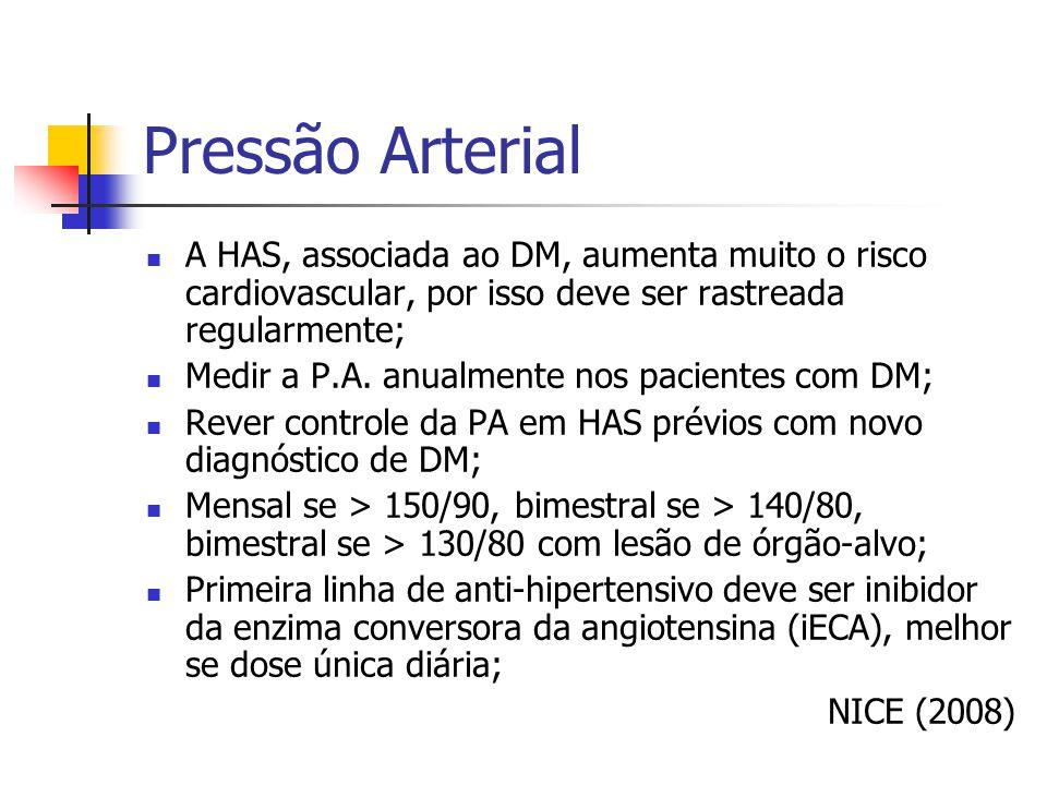 Pressão Arterial A HAS, associada ao DM, aumenta muito o risco cardiovascular, por isso deve ser rastreada regularmente;