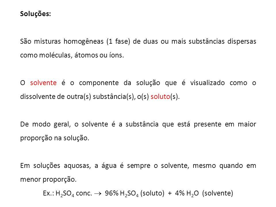 Ex.: H2SO4 conc.  96% H2SO4 (soluto) + 4% H2O (solvente)