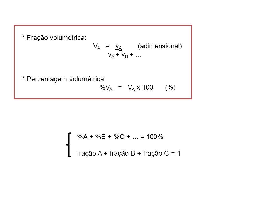 * Fração volumétrica: VA = vA (adimensional) vA + vB + ... * Percentagem volumétrica: