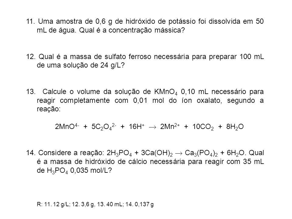 2MnO4- + 5C2O42- + 16H+  2Mn2+ + 10CO2 + 8H2O
