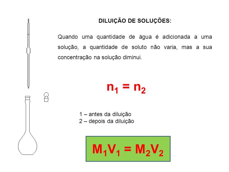n1 = n2 M1V1 = M2V2 DILUIÇÃO DE SOLUÇÕES: