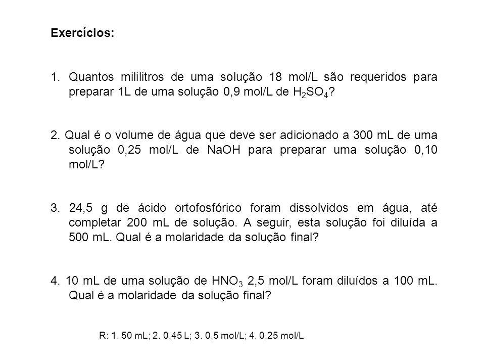 Exercícios: Quantos mililitros de uma solução 18 mol/L são requeridos para preparar 1L de uma solução 0,9 mol/L de H2SO4