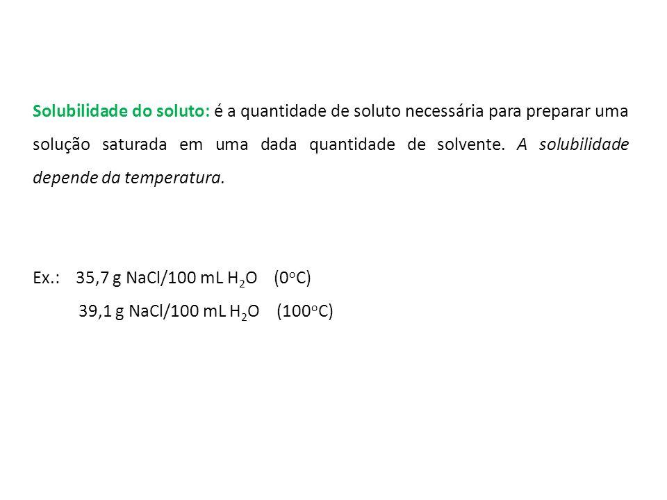 Solubilidade do soluto: é a quantidade de soluto necessária para preparar uma solução saturada em uma dada quantidade de solvente. A solubilidade depende da temperatura.
