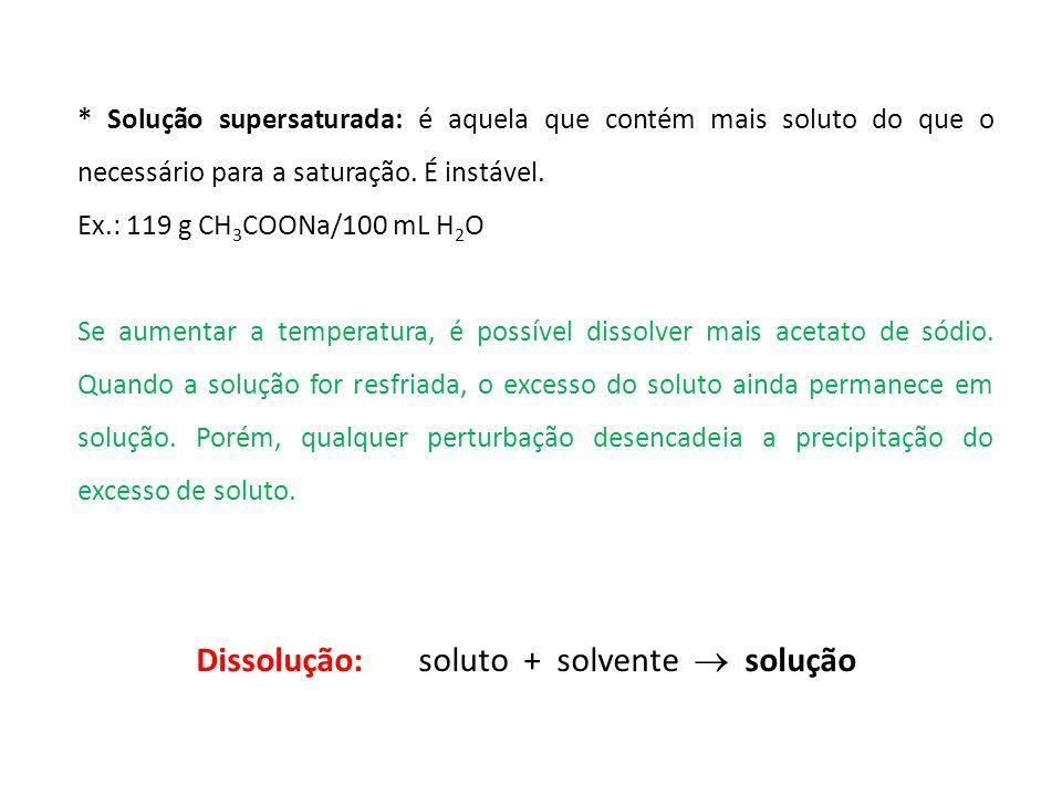 Dissolução: soluto + solvente  solução