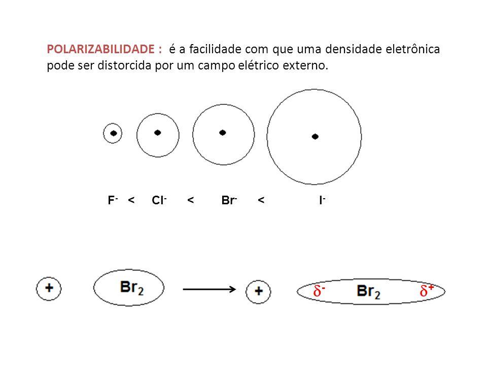 POLARIZABILIDADE : é a facilidade com que uma densidade eletrônica pode ser distorcida por um campo elétrico externo.