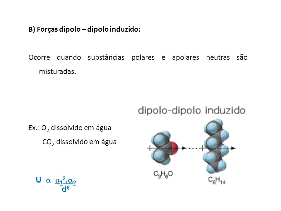 B) Forças dipolo – dipolo induzido: