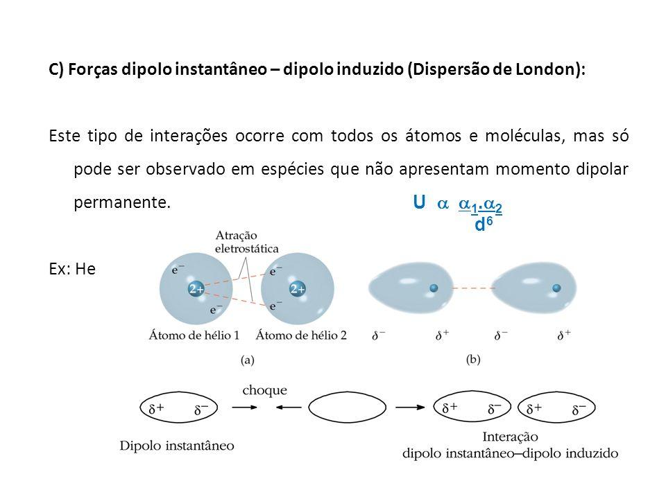 C) Forças dipolo instantâneo – dipolo induzido (Dispersão de London):